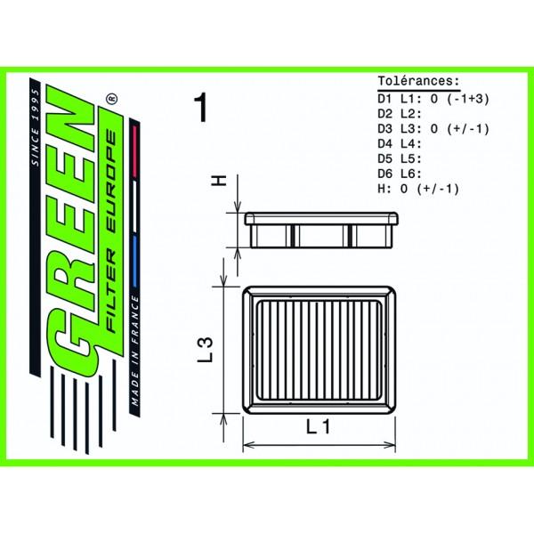 Filtre à air de remplacement Green Audi TTRS 8S 400